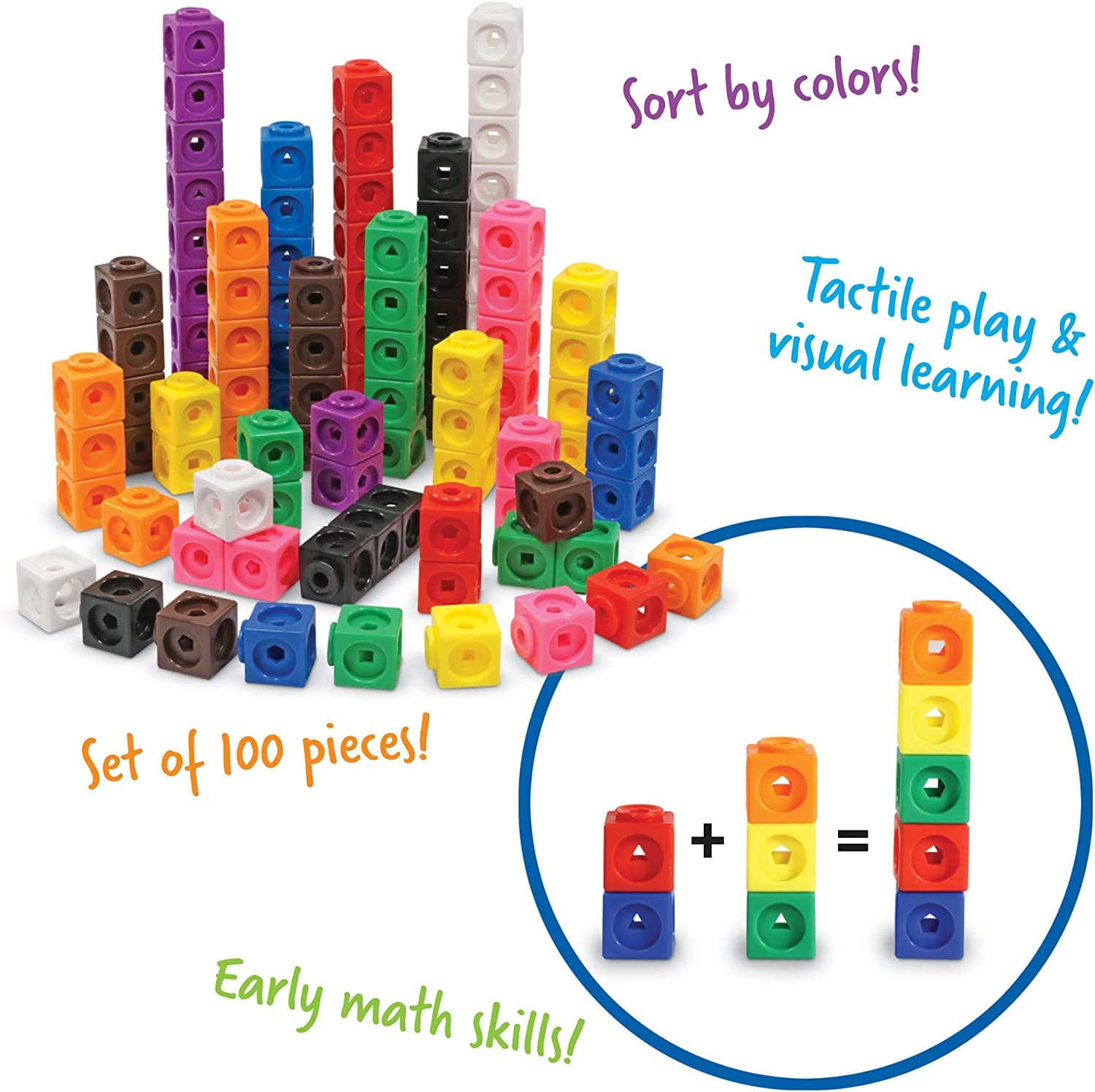 Learning Resources MathLink Cubes, Homeschool, Educational Counting Toy, Math Cubes, Linking Cubes, Early Math Skills, Math Manipulatives, Set of 100 Cubes