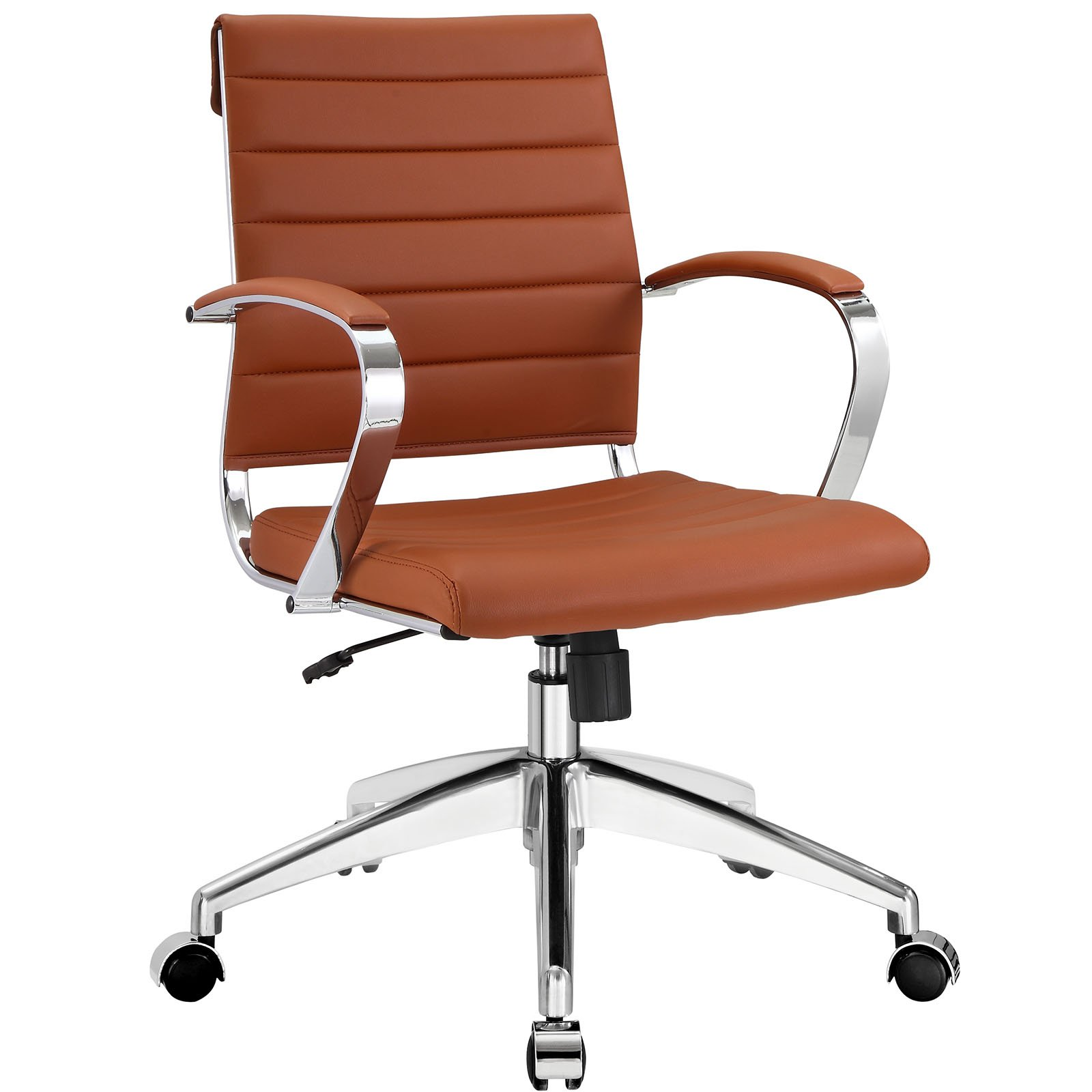 Modway Jive Ribbed Mid Back Computer Desk Swivel Office Chair In Terracotta by Modway