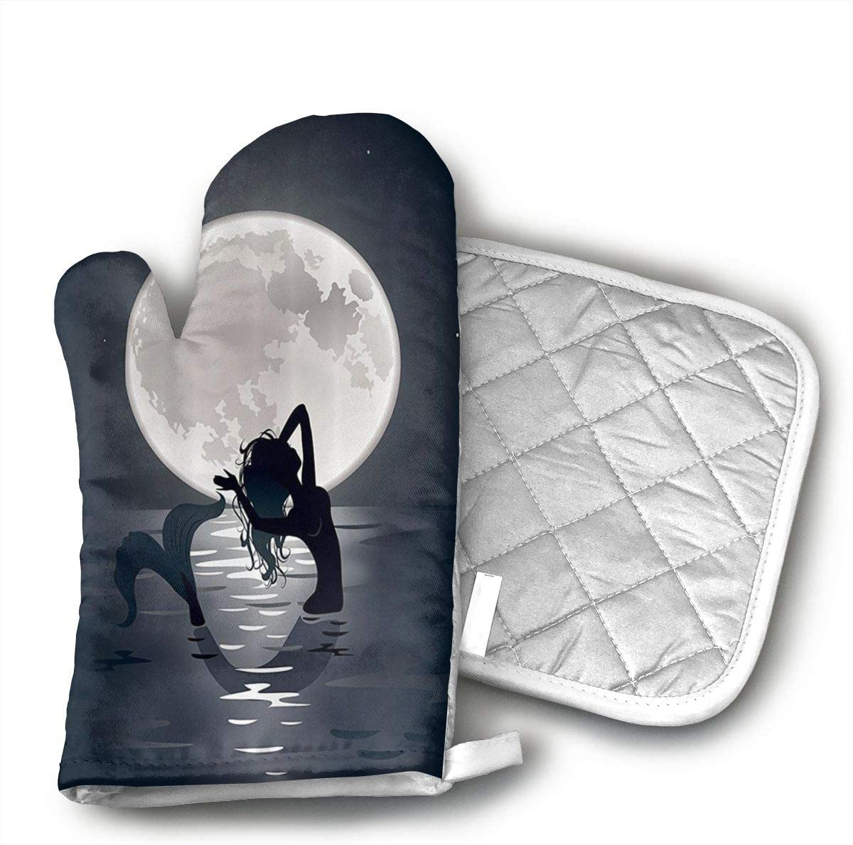 IOLGOQ Mermaid Singing at Night Silhouette Full Moon 1 Oven mitt and 1 Pot Rack Heat Resistant up to 250°C Non-Slip Gloves for Kitchen, Cooking, Baking, Grilling