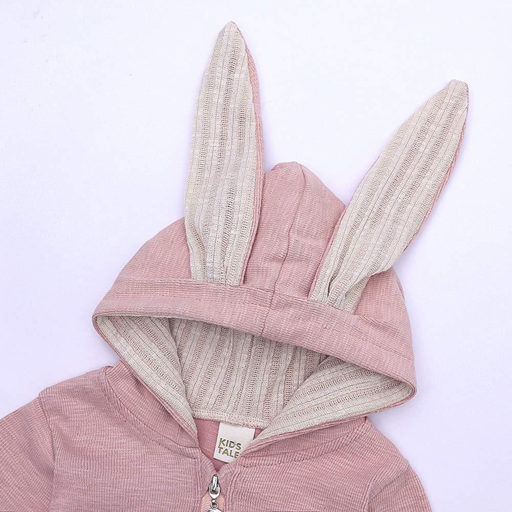 Mibuy Baby Overall mit Kapuze Cartoon Hasenohren Onesies Rei/ßverschluss Lange /Ärmel Kletterkleidung 0-9 Monate Neugeborene