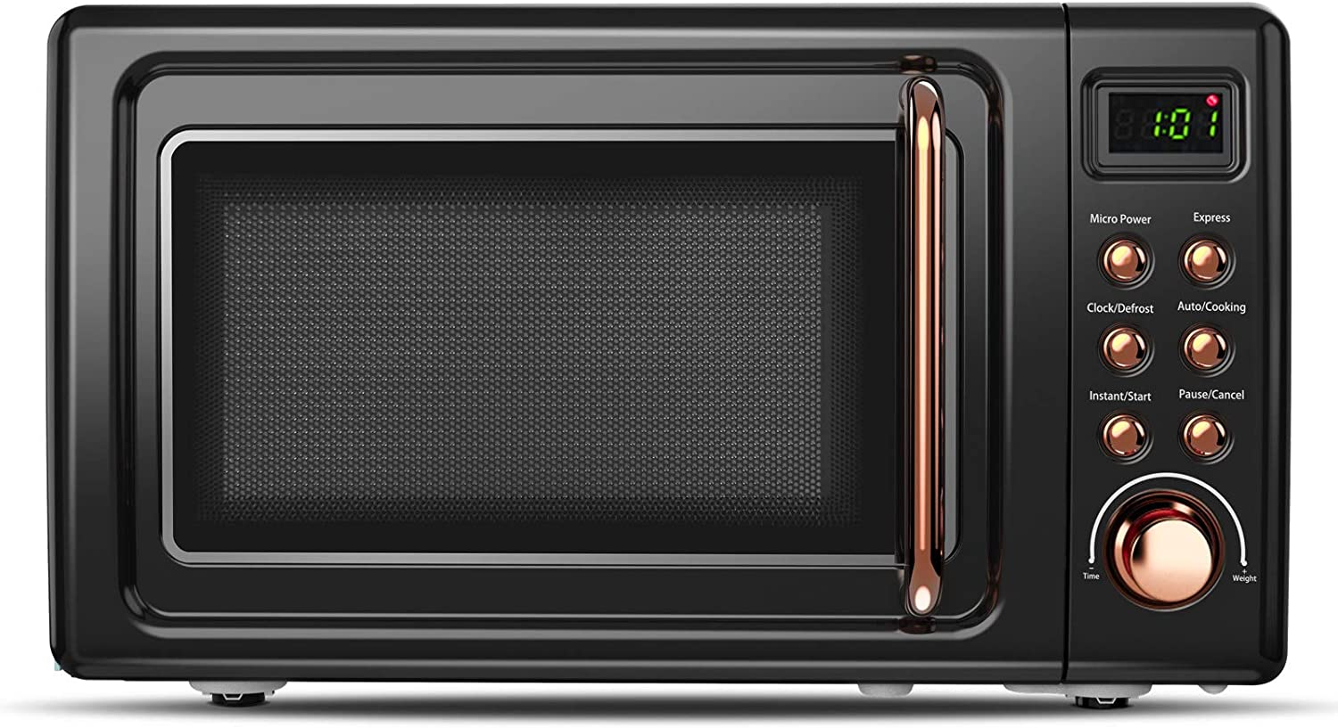 ARLIME Retro Countertop Microwave Oven, 0.7Cu.ft, 700-Watt with 5 Micro Power Defrost & Auto Cooking Function, LED Display, Glass Turntable & Viewing Window, Stainless Steel (Golden)