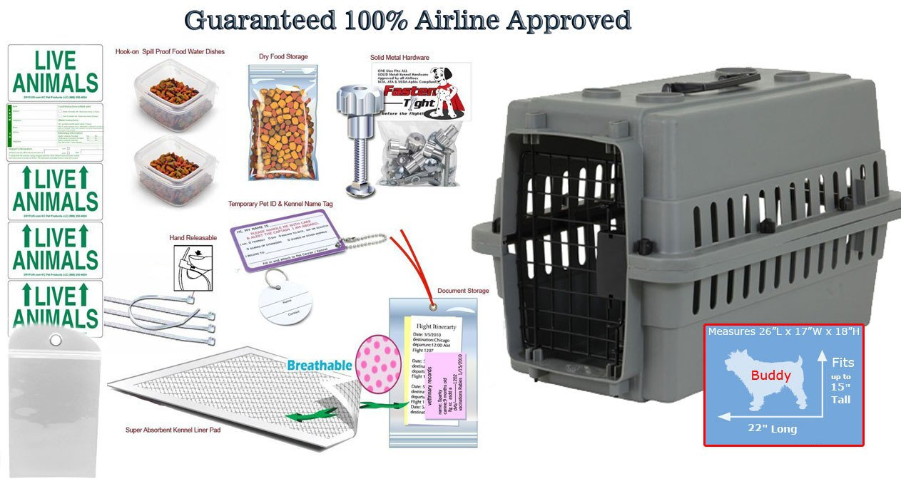 Pet Carrier 26x18 Airline Pet Kennel Package with Dry Fur Pad