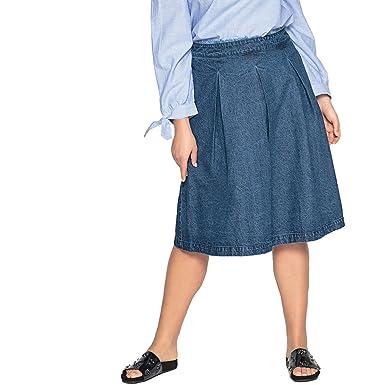 Castaluna Frau Rock Mit Ausgestellter Schnittform, Unifarben, Halblang e2c7603161