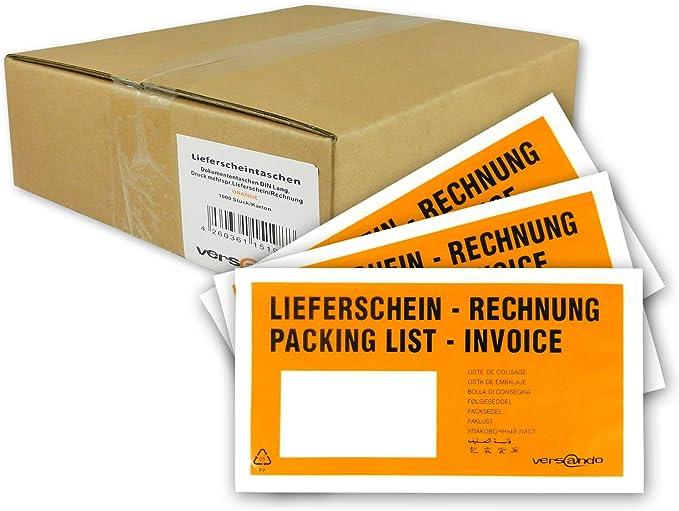 """bedruckt rot /""""Rechnung//Lieferschein/"""" Begleitpapiertaschen Din Lang"""