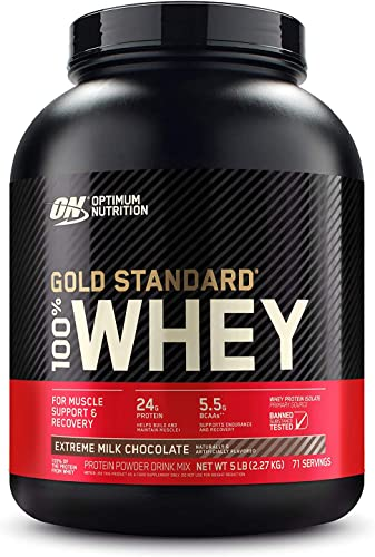 Optimum Nutrition Gold Standard 100 Whey Protein Powder, Extreme Milk Chocolate, 5 Pound Packaging May Vary