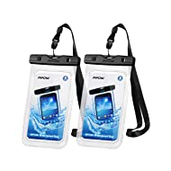 "Mpow 097 Universal Waterproof Case, IPX8 Waterproof Phone Pouch Dry Bag Compatible for iPhone Xs Max/XR/X/8/8P/7/7P Galaxy up to 6.5"", Protective Pouch for Pools Beach Kayaking Travel or Bath (2-Pack)"