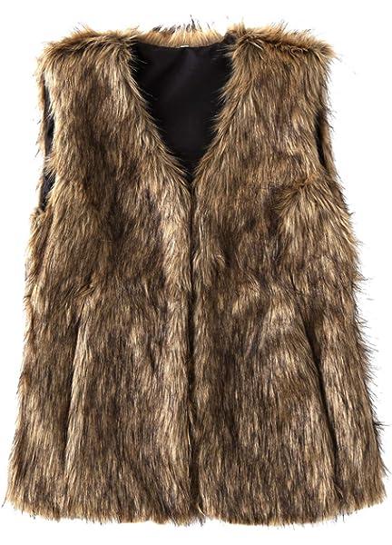 SUNDAY ROSE Womens Faux Fur Vest Warm Sleeveless Jacket Gilet with Pockets