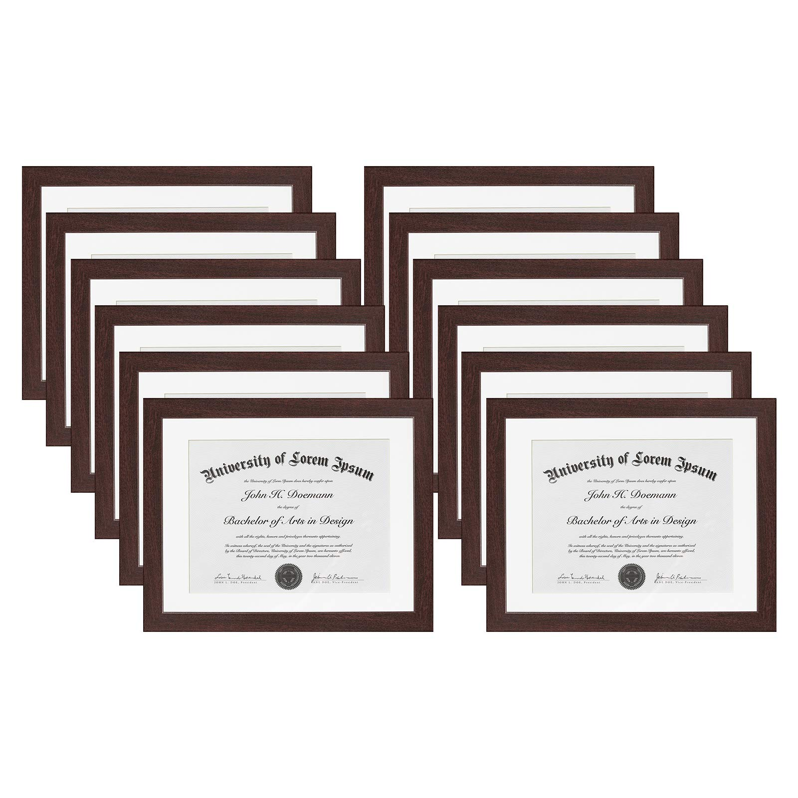 Americanflat 12 Pack - Mahogany Document Frames - Display Documents Sized 8.5x11 Inches with Mat and 11x14 Inches Without Mat - Document Frames, Certification Frames, High School Diploma Frames