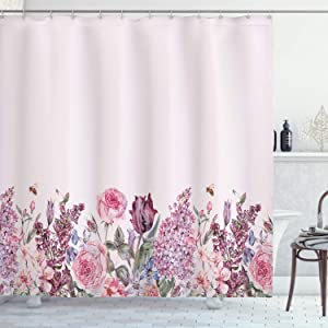 "Lunarable Mauve Shower Curtain, Vintage Watercolor Bouquet of Colorful Spring Garden Flowers Romantic Arrangement, Cloth Fabric Bathroom Decor Set with Hooks, 70"" Long, Baby Pink"