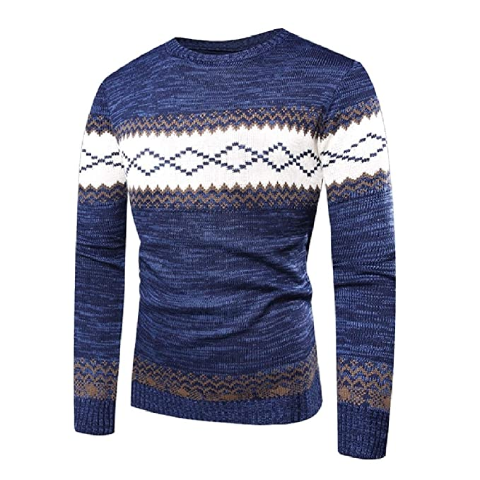 6794ae2dd Abetteric Men Round Collar Geometric Printed Color Block Knitted Pullover  Sweater Blue L