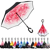 Ylovetoys Double Layer UV Protection Inverted Umbrella with C-Shaped Handle