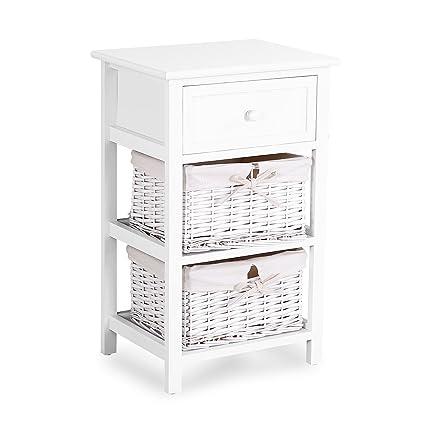 Mecor White Storage Drawer/Wood Nightstand/Open Shelf,Sofa Bedroom Beside  End Side