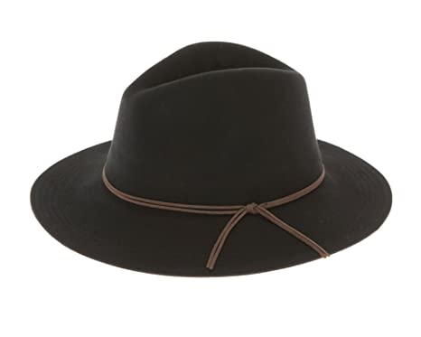 8b386263e7e07c Classic Wool Felt Safari Hat Floppy Brim Panama Fedora Cap with Suede Tie  Hatband (Black