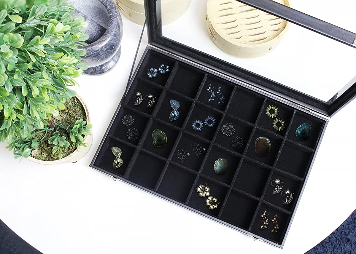 Black Velvet Jewelry Display – Ring and Earring Organizer – Divided Tray Stores Rings, Cuff Links, Stud Earrings – 14