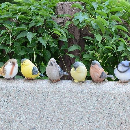 Juego de 6 pájaros de resina, creativos y bonitos adornos de animales vivos para jardín, pajaros, paisaje Tamaño libre Random: Amazon.es: Hogar