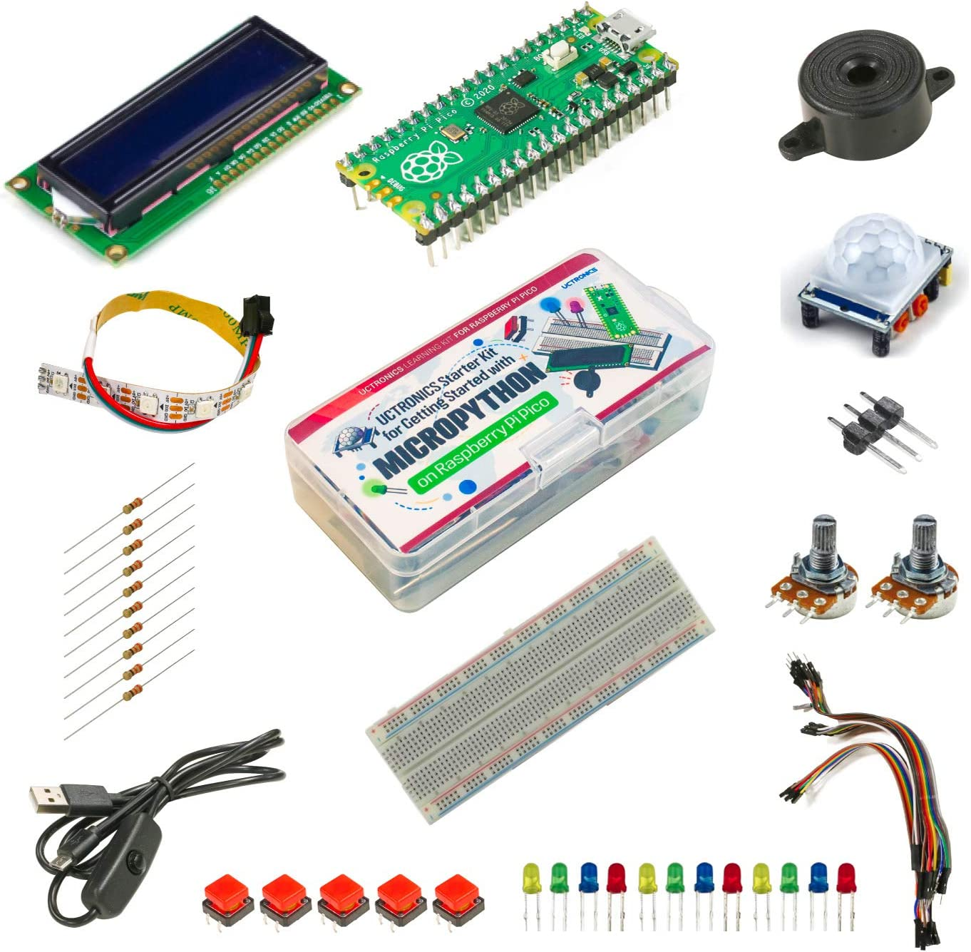 Beginner Friendly UCTRONICS Raspberry Pi Pico Starter Kit for Official Starter Book Pre-soldered Pico Get Started with MicroPython on Raspberry Pi Pico