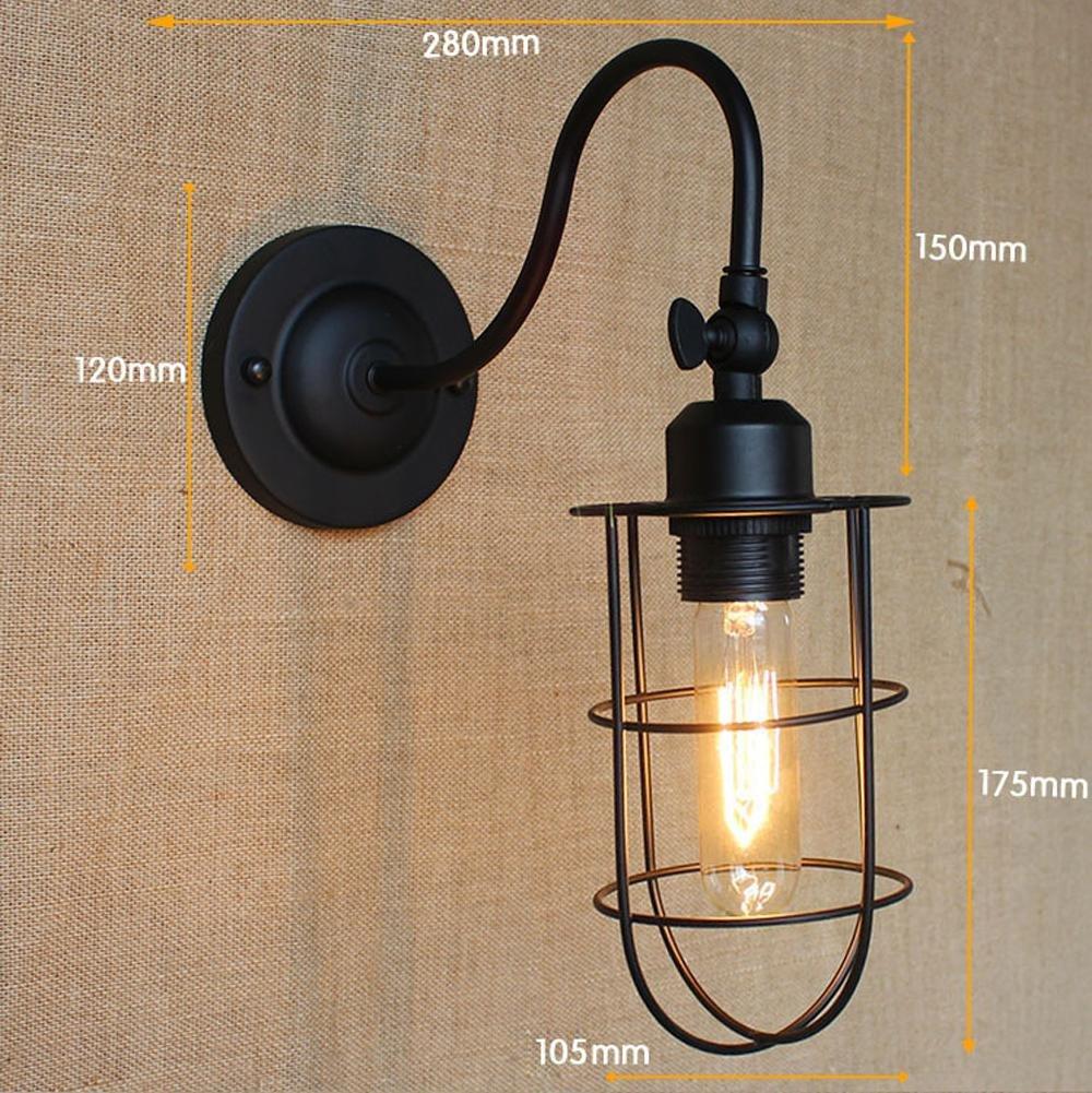 FAYM - lampada da parete Retrò industriale semplice ferro battuto decorativo lampada a parete , b