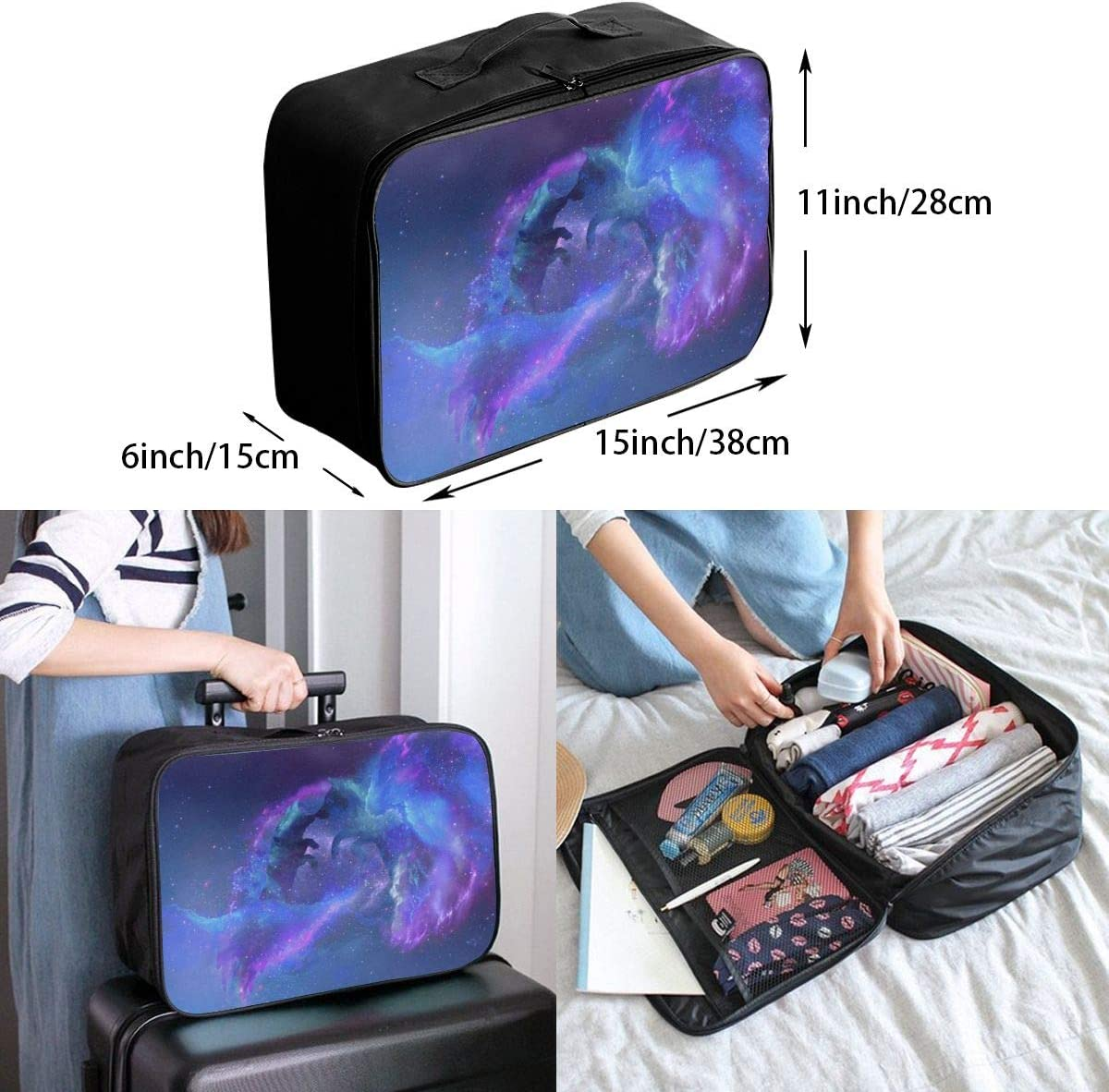 Yunshm Wolves Silhouettes Stars Galaxy Universe Personalized Trolley Handbag Waterproof Unisex Large Capacity For Business Travel Storage