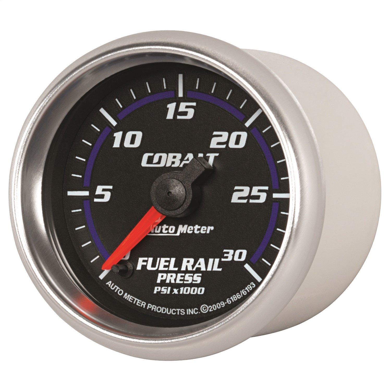 Auto Meter 6186 Cobalt 2-1/16' 0-30000 PSI Full Sweep Electric Diesel Fuel Rail Pressure Gauge