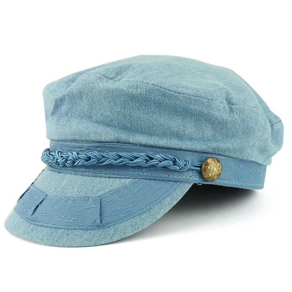 Trendy Apparel Shop 100% Cotton Greek Style Fisherman Hat With Rope Band - Denim - SM