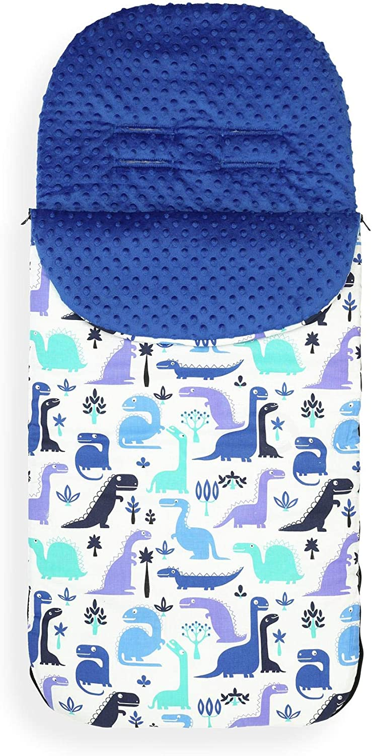 Blue Dino//Royal Blue Minky Cotton Universal Baby Stroller Cosy Toes Liner Buggy Luxury Padded Footmuff