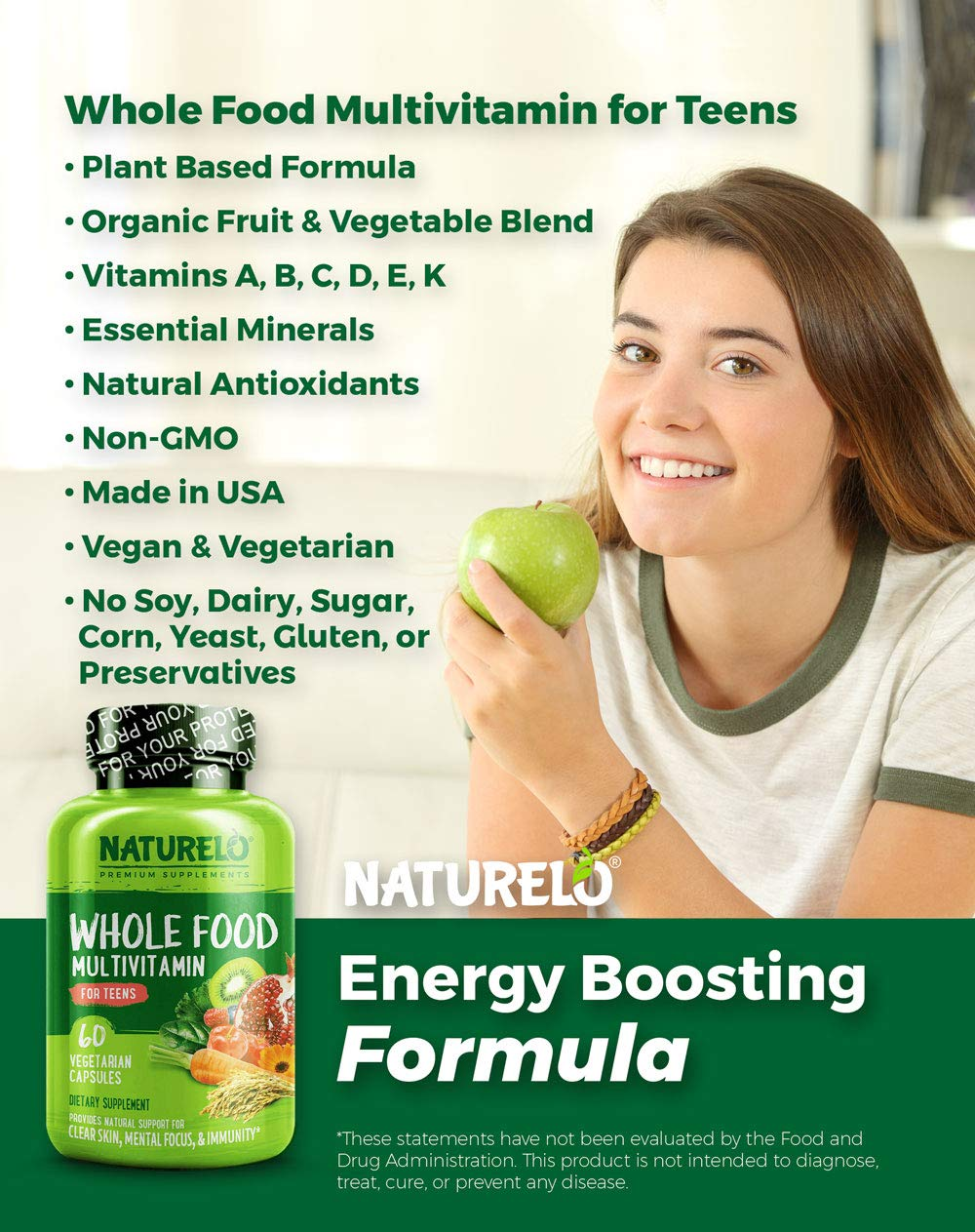 Amazon com: NATURELO Whole Food Multivitamin for Teens - Natural