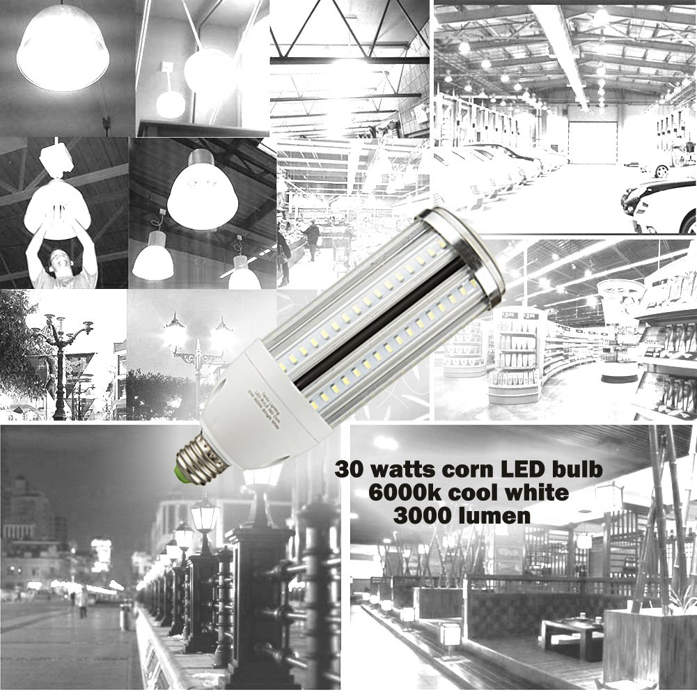 30w LED Corn Bulb E26 Daylight Bright White Light 6000k 3300 Lumens Street Area Light Replacement for Metal Halide HID, CFL, HPS by tento (Image #6)