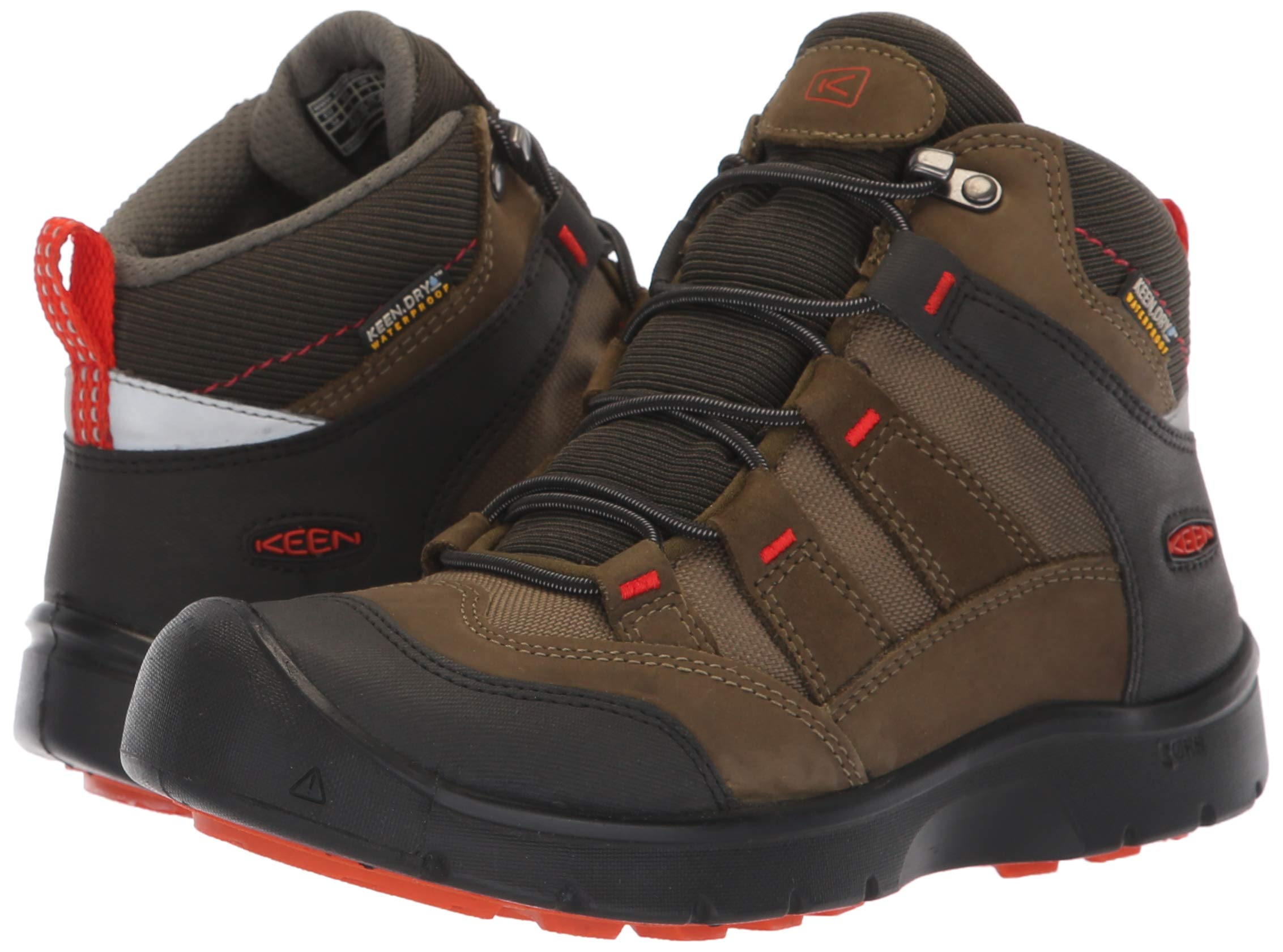 KEEN Unisex HIKEPORT MID WP Hiking Boot, Martini Olive/pureed Pumpkin, 12 M US Little Kid by KEEN (Image #6)