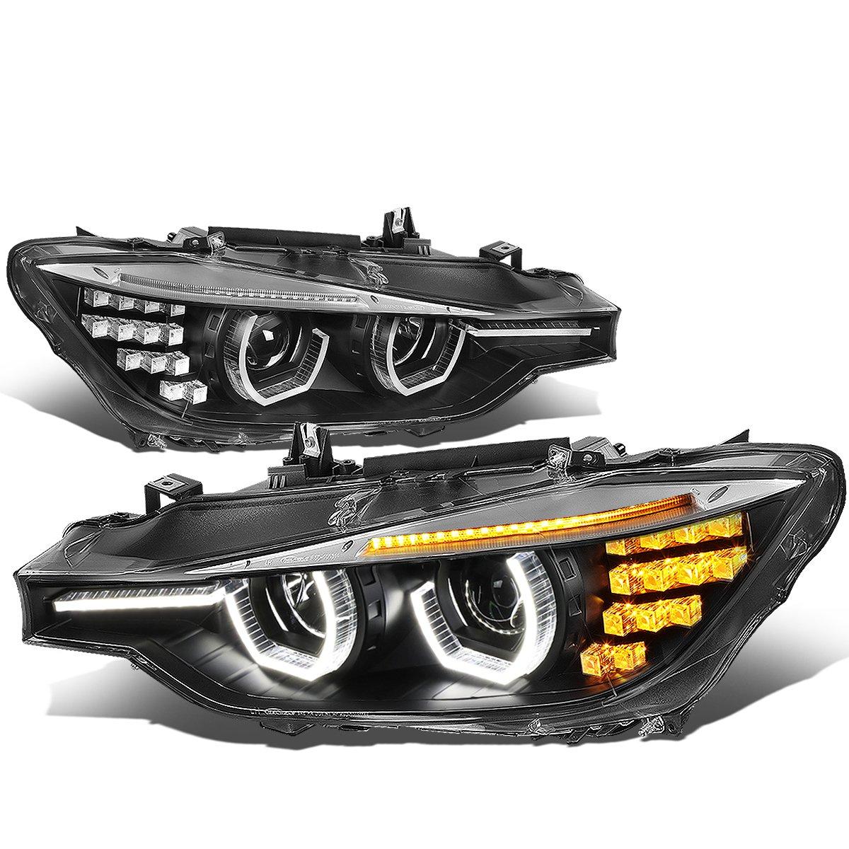 For BMW F30 3-Series Sedan Wagon Black Housing Amber Signal LED DRL U-Halo  Projector Headlight