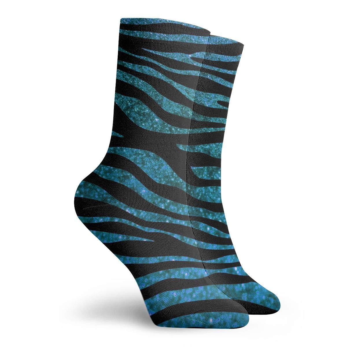 Blue Leopard Print Unisex Funny Casual Crew Socks Athletic Socks For Boys Girls Kids Teenagers