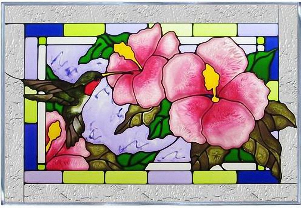 Hummingbird Hibiscus Blue Red Art Glass Panel Wall Window