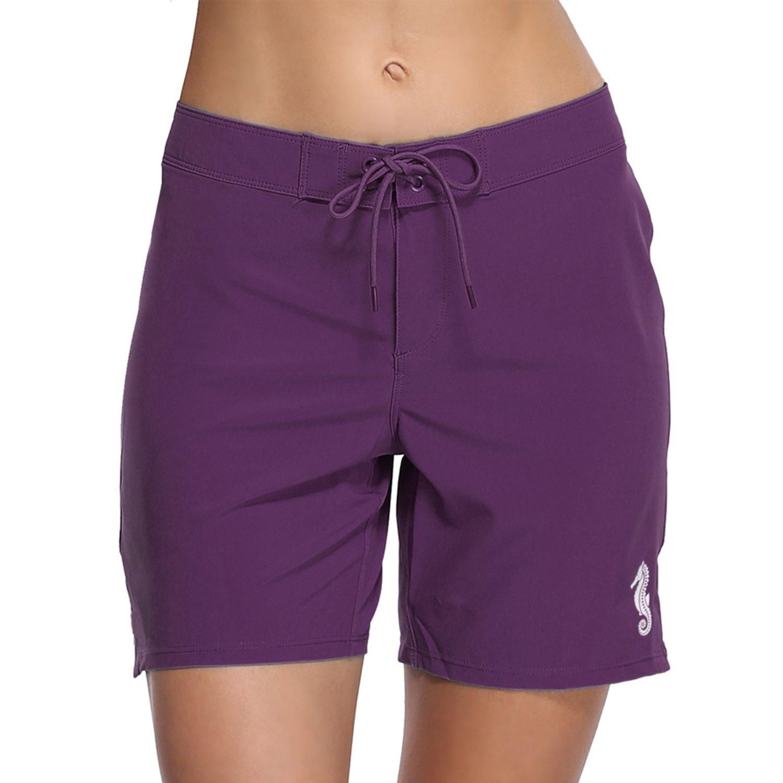 ATTRACO Women High Waist Board Shorts Long Swim Shorts Pants Beach Bottoms