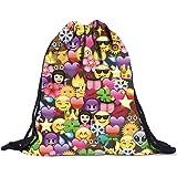 Rosennie Unisex Emoji Backpacks 3D Printing Bags Drawstring Backpack