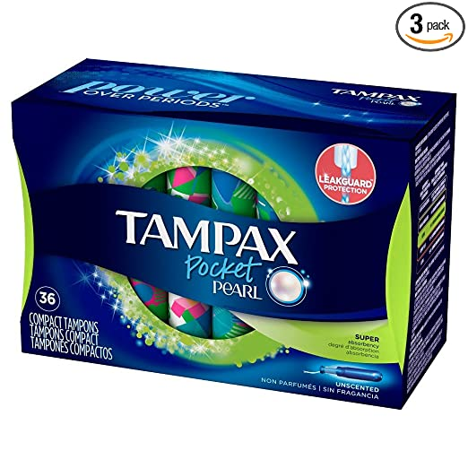 Tampax Pocket Pearl Plastic Tampons, Super Absorbency, Unscented, 36 Count - Pack of 3 (108 Total Count) (Packaging May Vary)