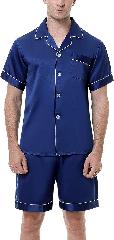 Irevial Men's Satin Pajamas Sets Shorts Sleeve Button-Down PJ Sets Sleepwear Loungewear Nightwear