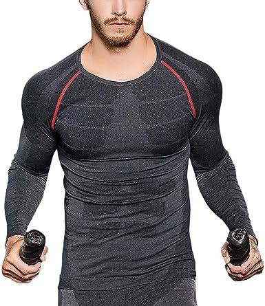 OEAK T Shirt Homme de Compression Manches Longues Slim Fit