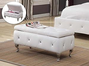 Kings Brand Furniture B5104-BE Bench, White