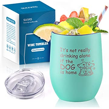 SULIVES Stainless Steel Wine Tumbler, 12 oz Double Wall Vacuum Insulated Stemless Tumbler with BPA Free Lid, Unbreakable Travel Cup for Wine, Champagne, Cocktails, Coffee - Seafoam