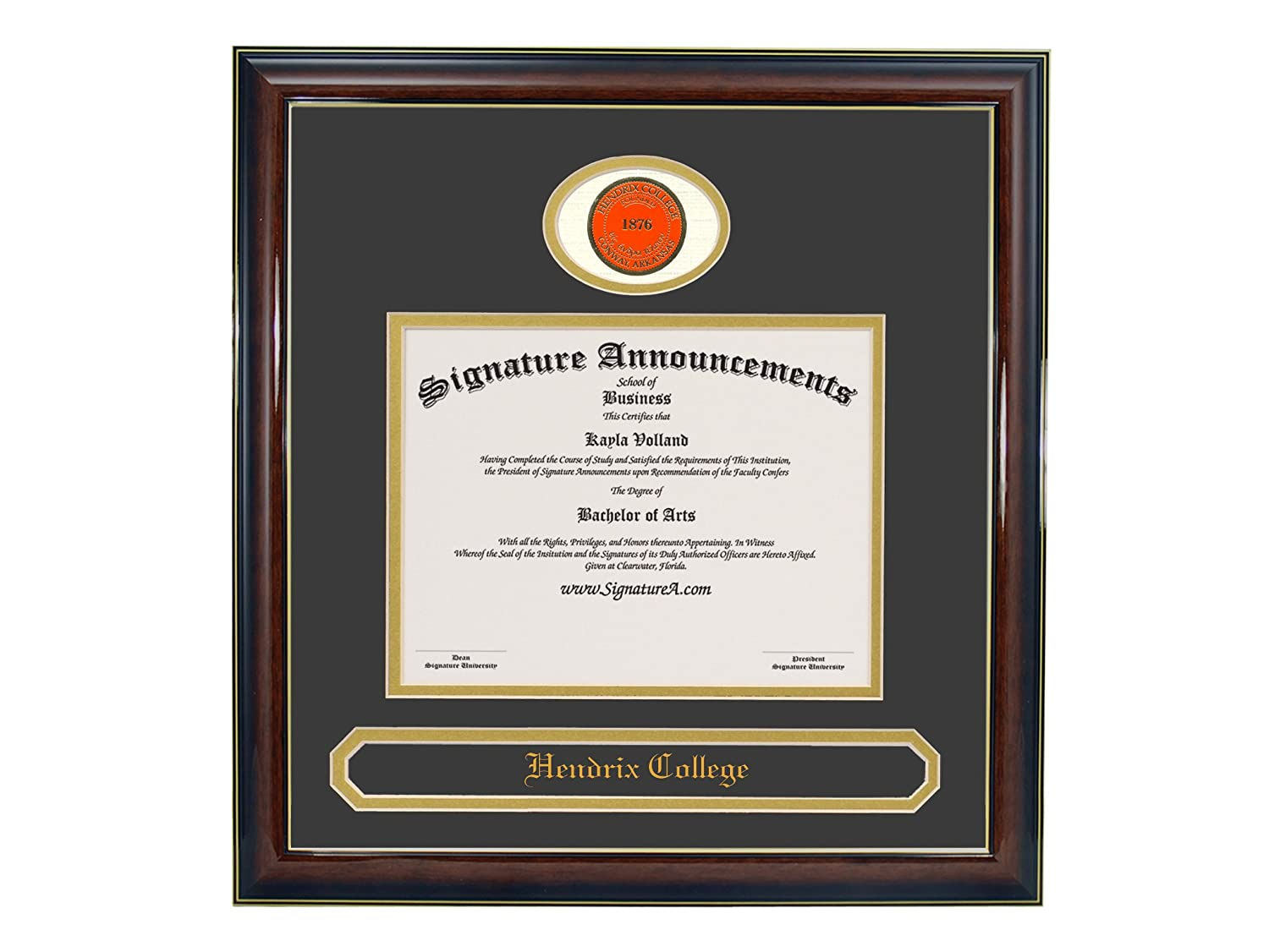 Signature Announcements Hendrix-College Doctorate Sculpted Foil Seal /& Name Graduation Diploma Frame 20 x 20 Gold Accent Gloss Mahogany