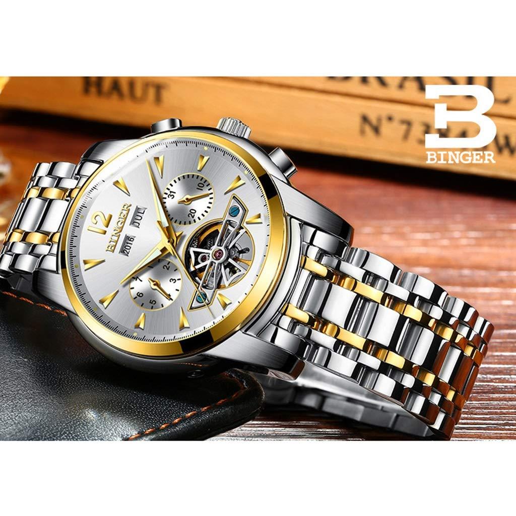 BINGER herrklocka, mode automatiska mekaniska klockor multifunktion vattenresistens armbandsur affärsstil med kalenderfunktion 8608M-1 guld grå