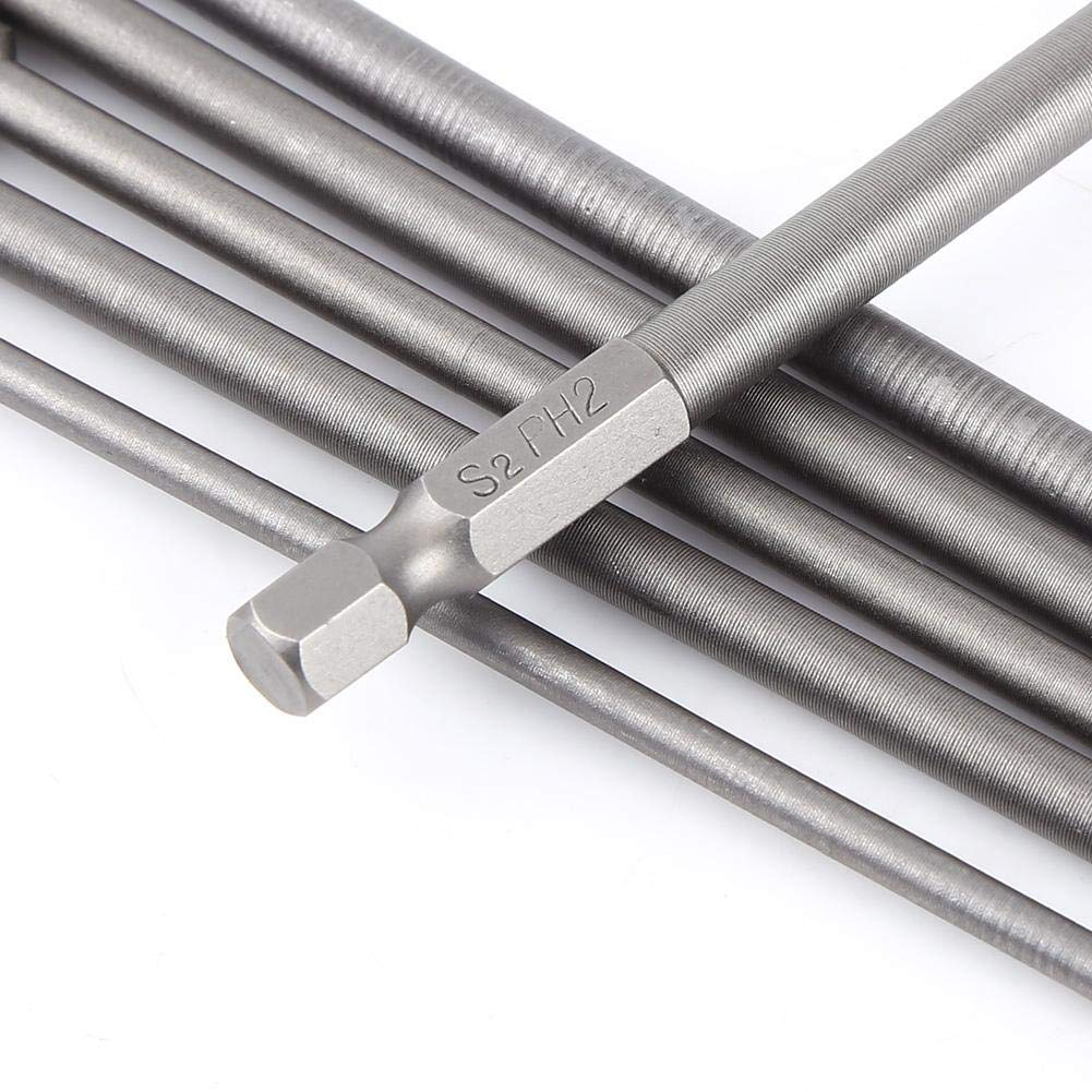 Set di punte per cacciavite a croce 6 pezzi S2 acciaio magnetico 1//4 pollici esagonale gambo 150mm lungo cacciavite strumento PH1 PH2