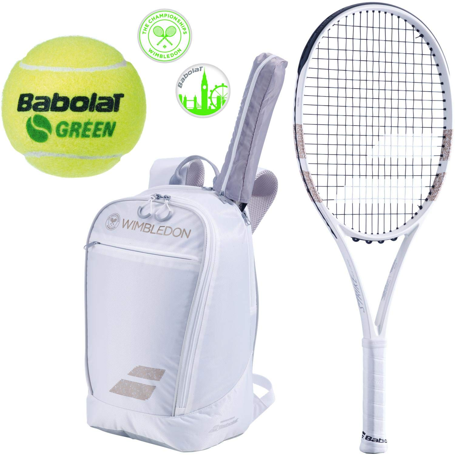 Babolat Wimbledon Pure Strike 26'' Junior Tennis Racquet (4 1/8'' Grip) Bundled with a Wimbledon Club Backpack, a Can of Green Play & Stay Balls and a Set of Wimbledon Dampeners by Babolat (Image #1)