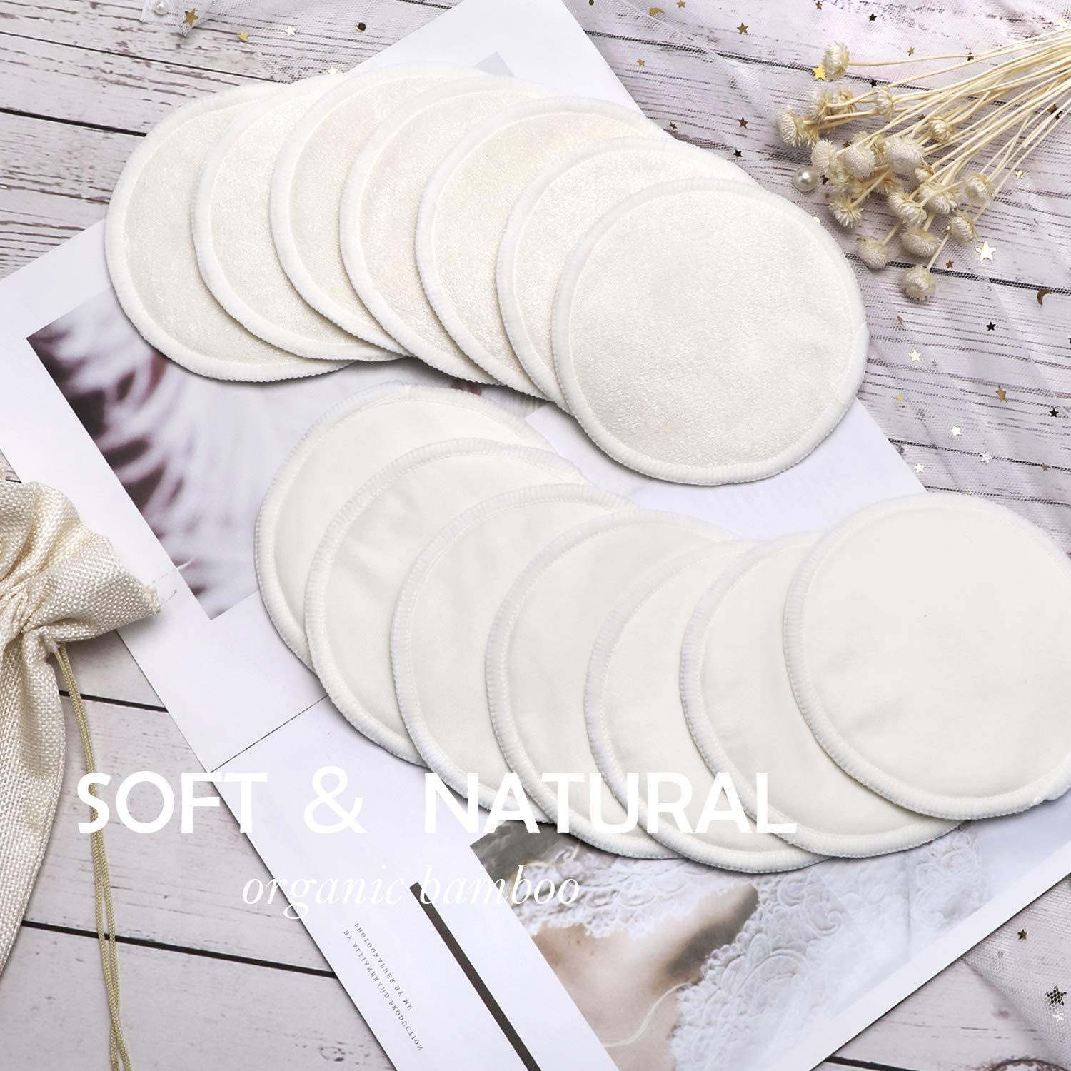 Absorbent Eco Pads for Breastfeeding Reusable Organic Bamboo Breast Pads with Laundry Bag and Storage Bag Soft Hypoallergenic PHOGARY 14PCS Washable Nursing Pads