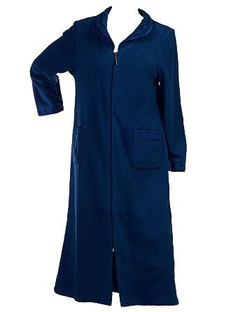 521cc97871 Slenderella Ladies Anti Pill Zip Up Dressing Gown Satin Trim Polar Fleece  Bath Robe Blue (