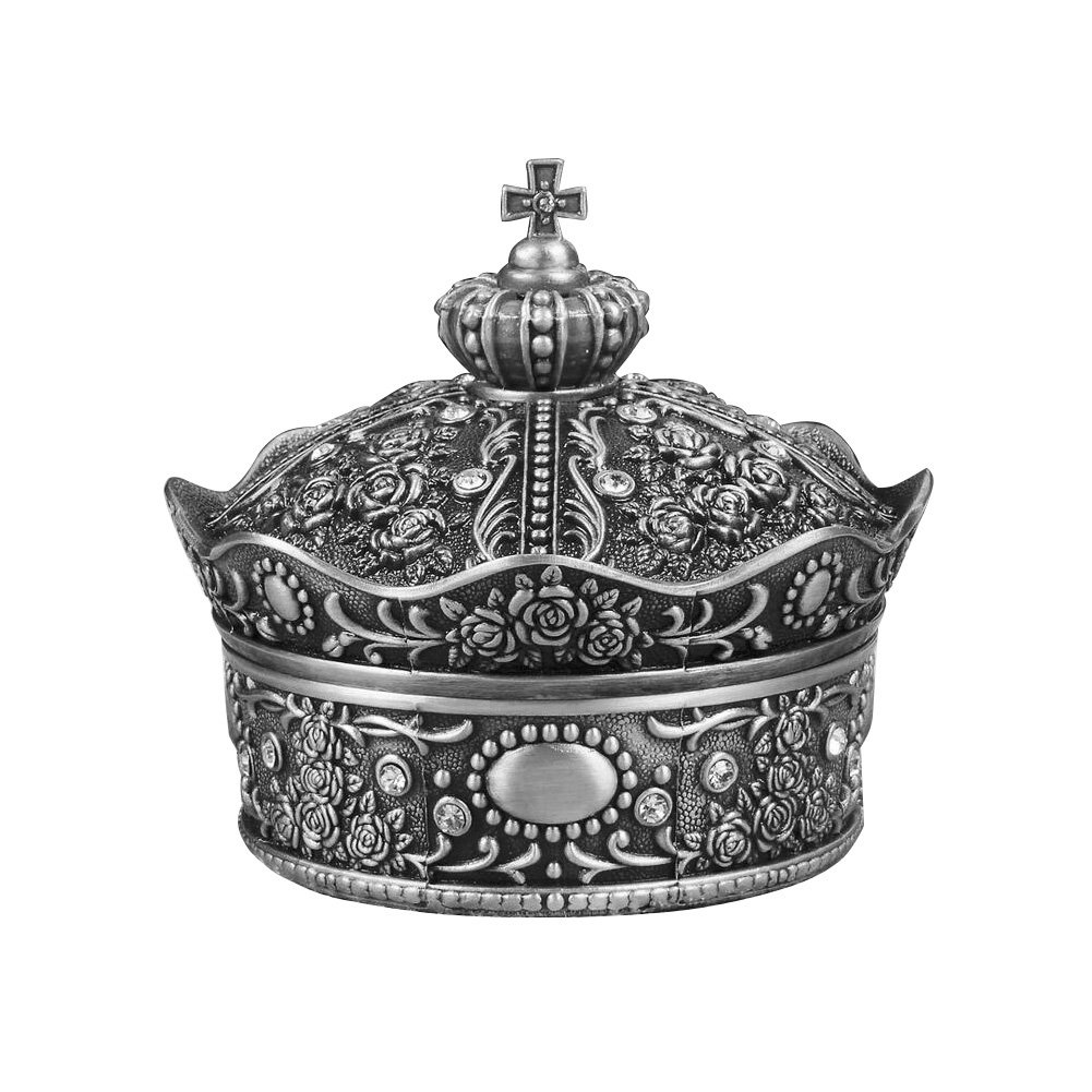 Vintage Metal Alloy Crown Design Jewelry Box Ring Trinket Case