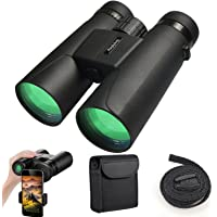 Binoculars for Adults, 12X42 Low Night Vision Binoculars Professional HD Compact Durable Folding Waterproof & Fogproof Roof Prism Binocular Scope for Bird Watching Travel Stargazing Hunting Concerts