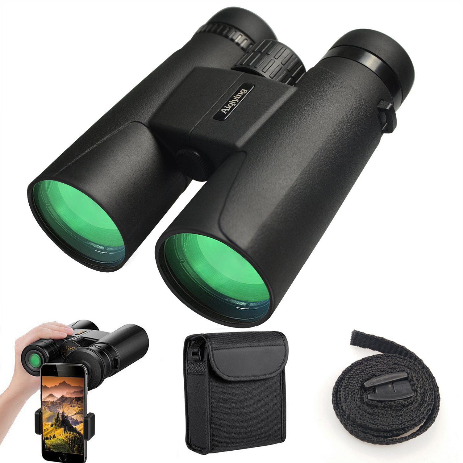 Binoculars for Adults, 12X42 Low Night Vision Binoculars Professional HD Compact Durable Folding Waterproof & Fogproof Roof Prism Binocular Scope for Bird Watching Travel Stargazing Hunting Concerts by Aiqiying