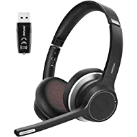Mpow Bluetooth Headset V5.0 with Adapter, Wireless PC Headphones with Dual Microphone, cVc 8.0 Noise Canceling, Office…