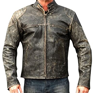 Vintage Style Men S Cafe Racer Retro Antique Black Distressed Biker