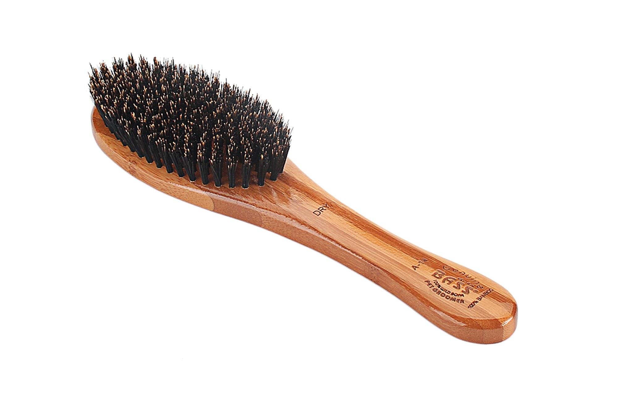 Bass Brushes | Luxury Grade Pet Brush | Shine & Condition | 100% Pure Premium Natural Bristle - Firm | Full Oval Design | Natural Bamboo Handle | Solid Finish Model #A14-DB